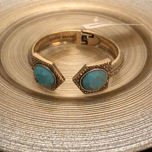 Lucky Brand Gold and Turquoise Bangle